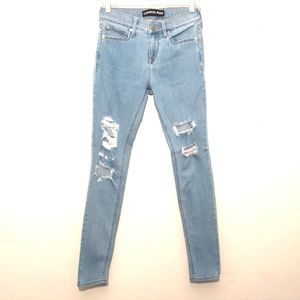 EXPRESS womens jean leggings size 2R blue ripped